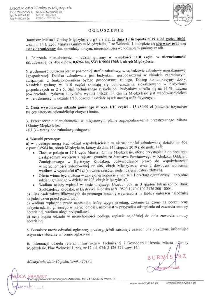 ogłoszenie o przetargu 1_10 cz. w dz. 406 Międzylesie.jpeg
