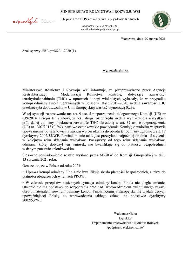 Pismo z Ministerstwa Rolnictwa i Rozwoju Wsi Dep. Rynków Rolnych w sprawie konopi włóknistych odmiana Finola(2)-1.jpeg